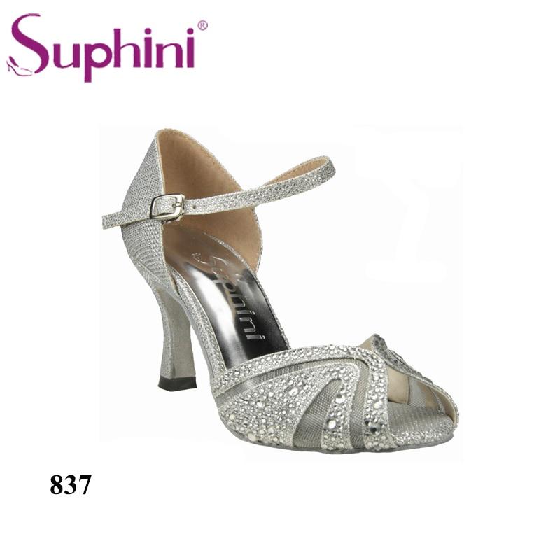 FREE SHIPPING Glitter Dance Shoes,Silver New Mesh High Heel 7.5cm Latin Dance Shoes lettuce edge glitter mesh tee