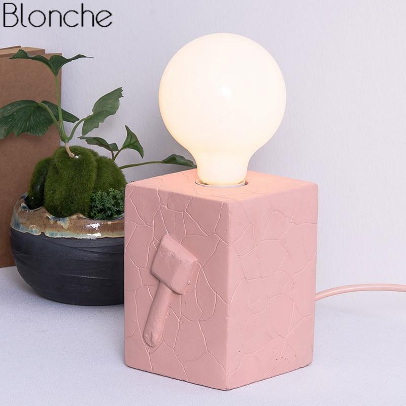 Lampe de Table Led moderne lampe de bureau créative en ciment lampe de lit pour la lecture étude décor à la maison lampe de chevet colorée E27 Luminaire Loft - 2