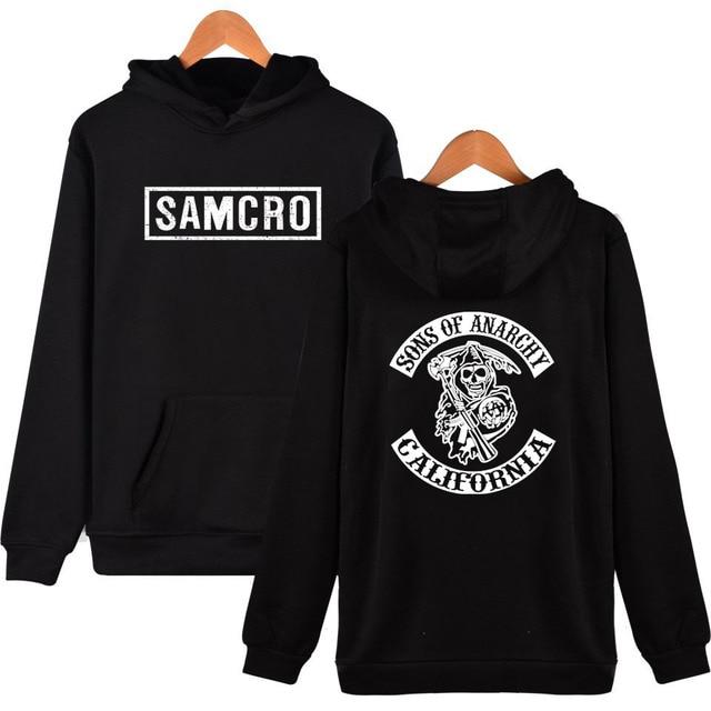 Sons of Anarchy Negro Camiseta de Los Hombres de Moda Chándal Ropa  Deportiva Sudadera 2017 Samcro d7482dcf989d