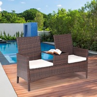 Giantex Patio Rattan Chat Set Seat Sofa Loveseat Table Chairs Conversation Cushioned Outdoor Furniture HW57032