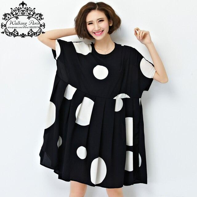 Новый Летний Dress Плюс Размер Женщины Шифон Горошек Одежда свободные Большой Размер Женщин Случайные Dress Soft Драпированные Мода Одежда 4XL