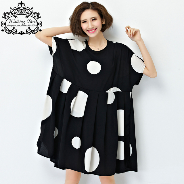 new summer dress plus size women chiffon polka dot clothing loose