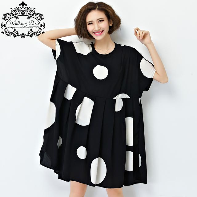 Nueva summer dress mujeres de talla grande gasa del punto de polca ropa loose tamaño grande mujer casual dress drapeado suave ropa de moda 4XL