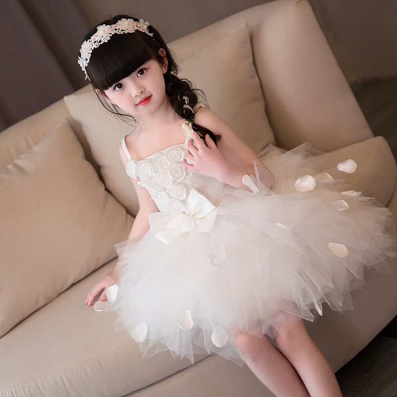 White puffy strappy girl princess dress birthday small wedding flower girl dress children show show costume strappy ombre back zipped bodycon dress