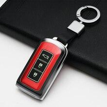 1PCS Aluminum Alloy Key Shell + Chain Rings Car Protective Case Cover Skin For Mitsubishi Outlander Smart 3-Key