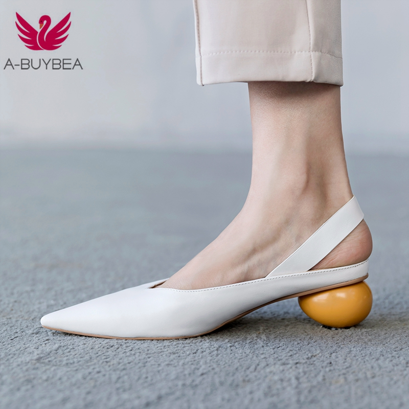 Brand New Pointed Toe Slingback Women Shoes Genuine Leather High Heel Shoes Woman Pumps Strange Heel Female Shoes Size 34-39