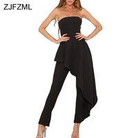ZJFZML Hot Fashionable Popular 2017 Bodycon Jumpsuit Women Black Strapless Full Length Romper Sexy Backless Ruffle