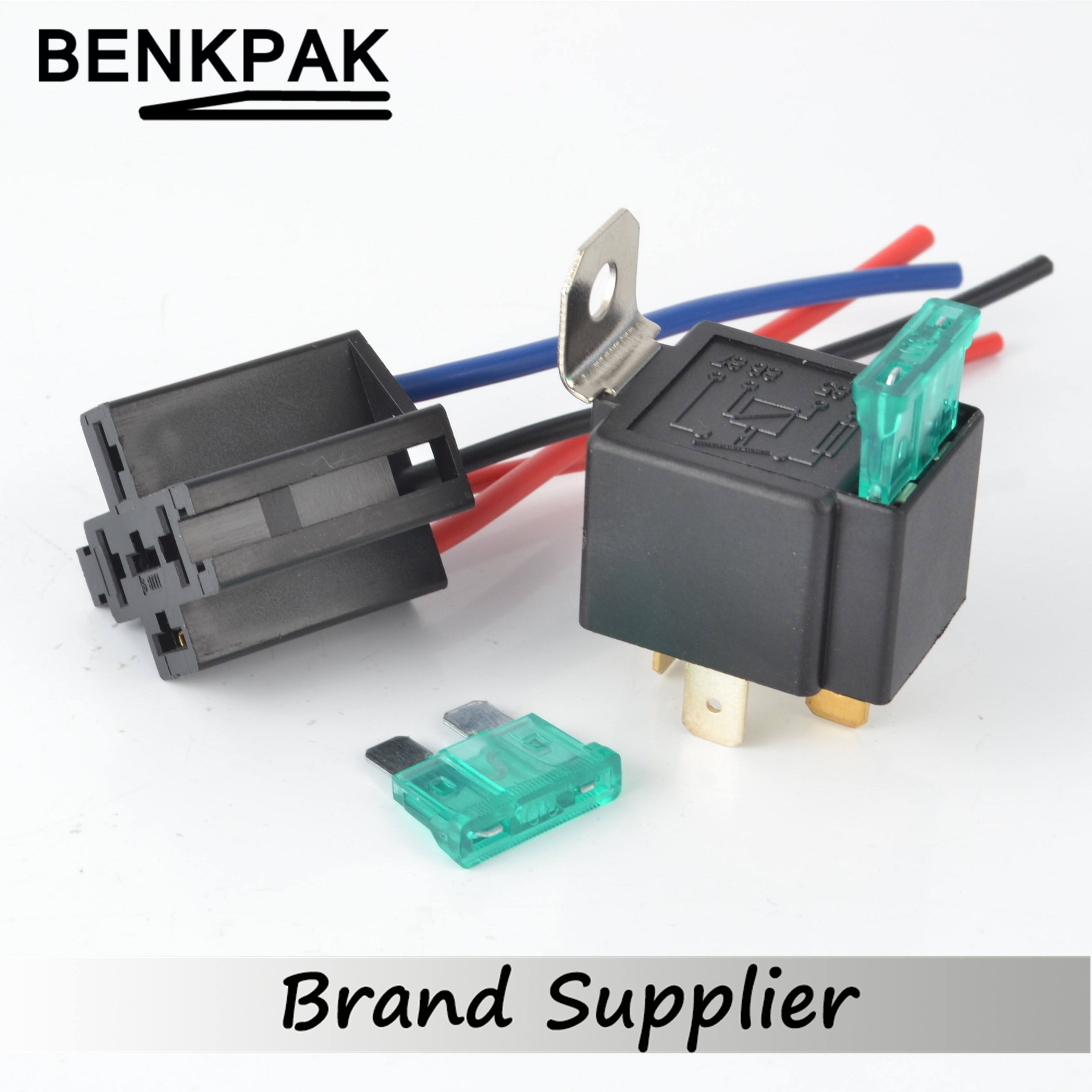 30a dc12v pre wired 4 pin relay mounting base auto relay socket holder with 2pcs 30a medium fuse [ 2834 x 2834 Pixel ]