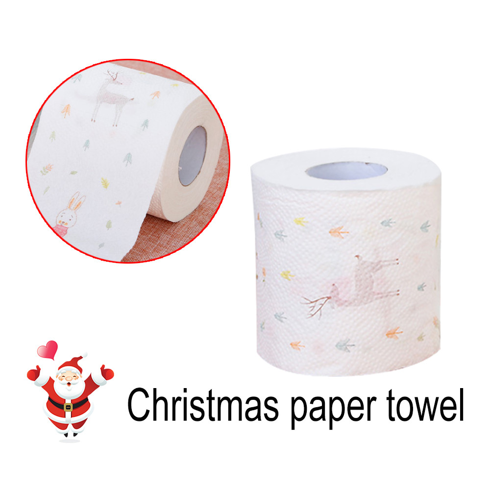 Christmas Pattern Roll Paper Print Interesting Toilet Paper Table Kitchen Paper Towel Home Accessories Handkerchief Towel SA60