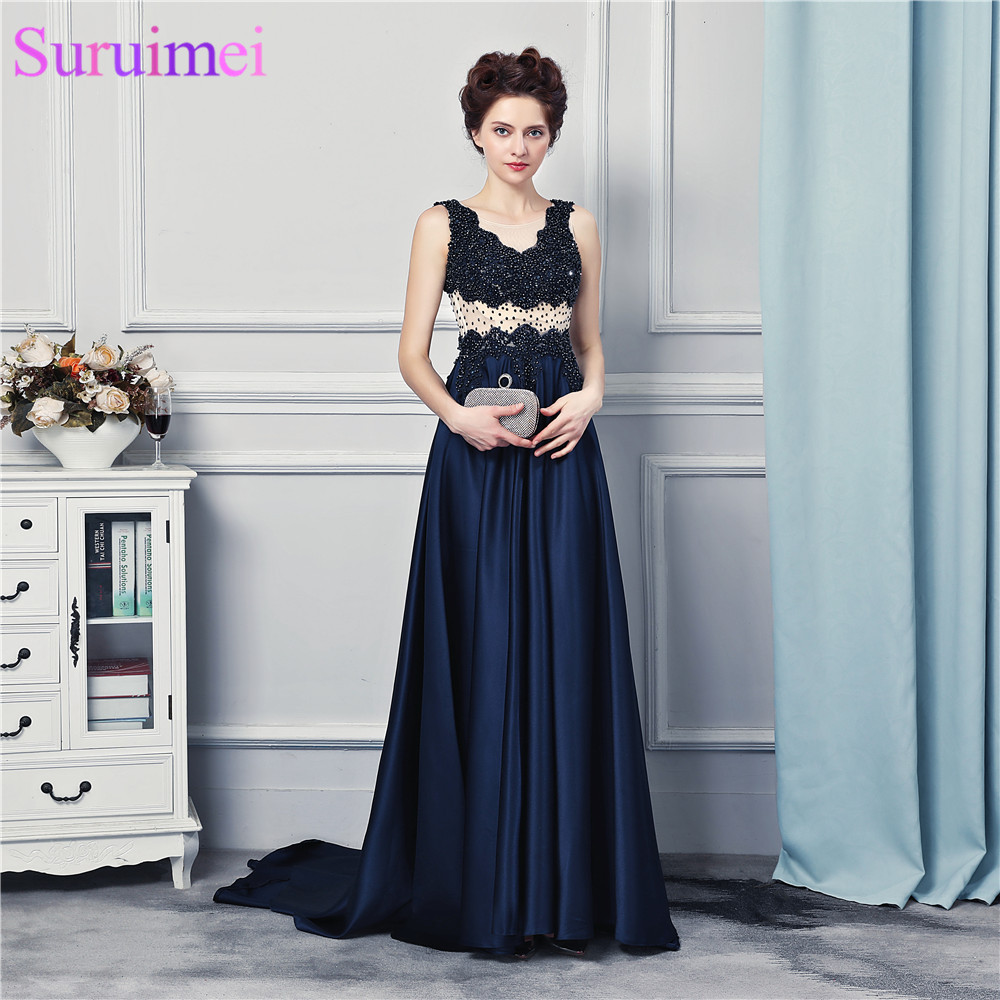 Spaghetti Straps Nude See Through Back Navy Blue Evening Dresses Satin Beaded Evening Gown