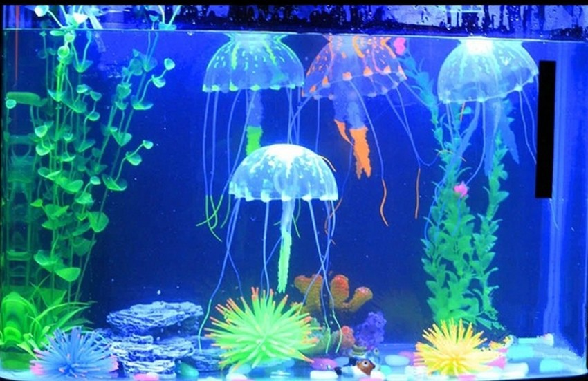 Glowing Artificial Vivid Jellyfish Silicone Fish Tank Decor Aquarium Decoration Ornament 3 months warranty