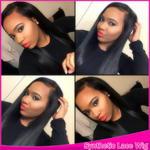 Real Synthetic Lace Front&No Lace Beauty Hair Products Free Part Style Silky Straight Synthetic Kanekalon Wig For American Lady