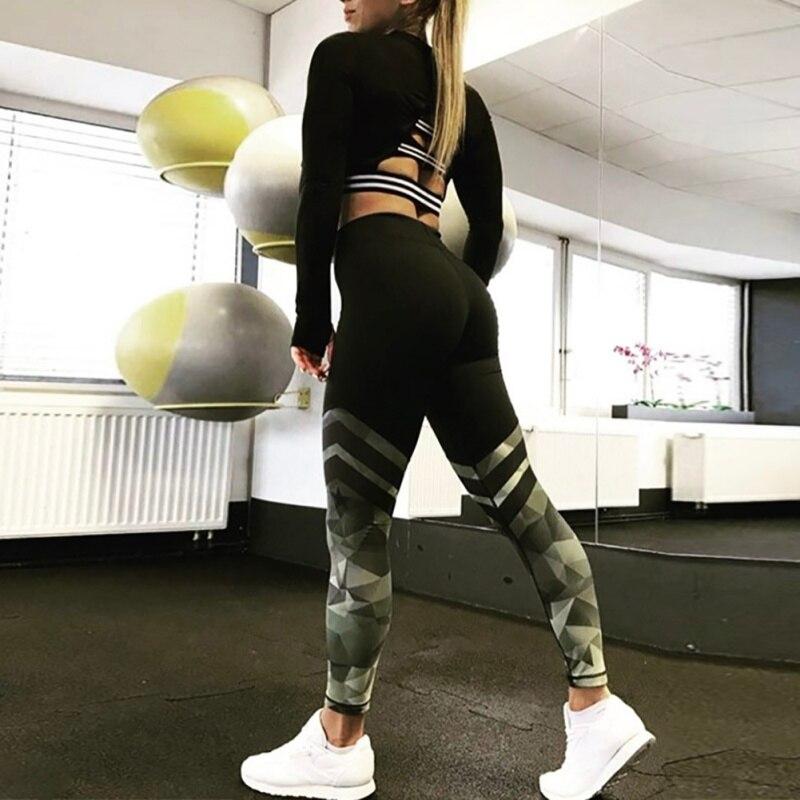 Harajuku push up fitness legging raya camuflaje bodybuilding leggings Sportswear athleisure pantalones femeninos venta