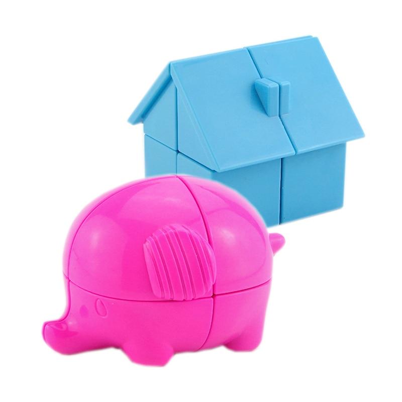 Cartoon Animal Magic Cube 2X2 Strange-shape Elephant House Profession Puzzle Education Speed Cubes Children's Of  Game Toys Gift