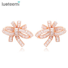LUOTEEMI Europe Hot Sale Luxury Super Star Design  Sparkling Cubic Zirconia Women Wedding Big Bowknot Stud Earring
