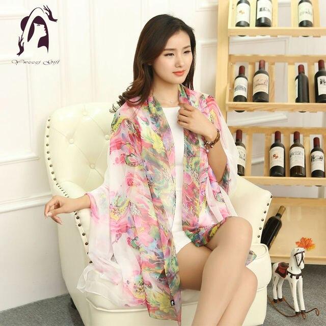 [YWJUNFU] Hot Summer 100% Soft Silk Scarve Women Bohemia Print Scarf Ladies Chiffon Long Shawl 150*200cm Girls Beach Scarves