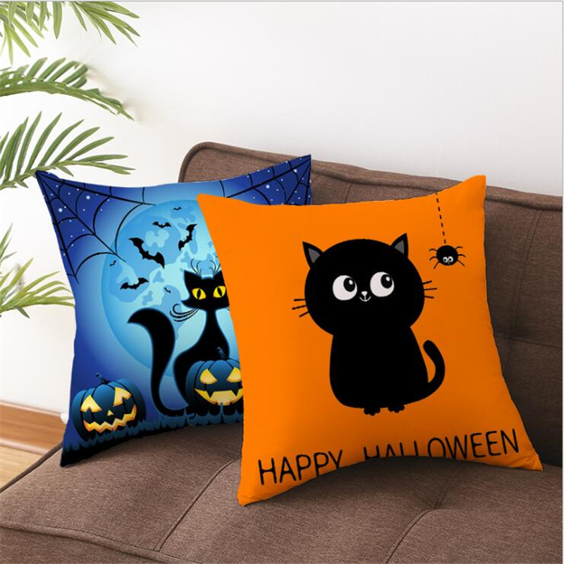 Cute Cat Halloween Decoration Pillow Case Happy Birthday Sofa Cushion Cover Case Xmas Party Pillowcase Gifts