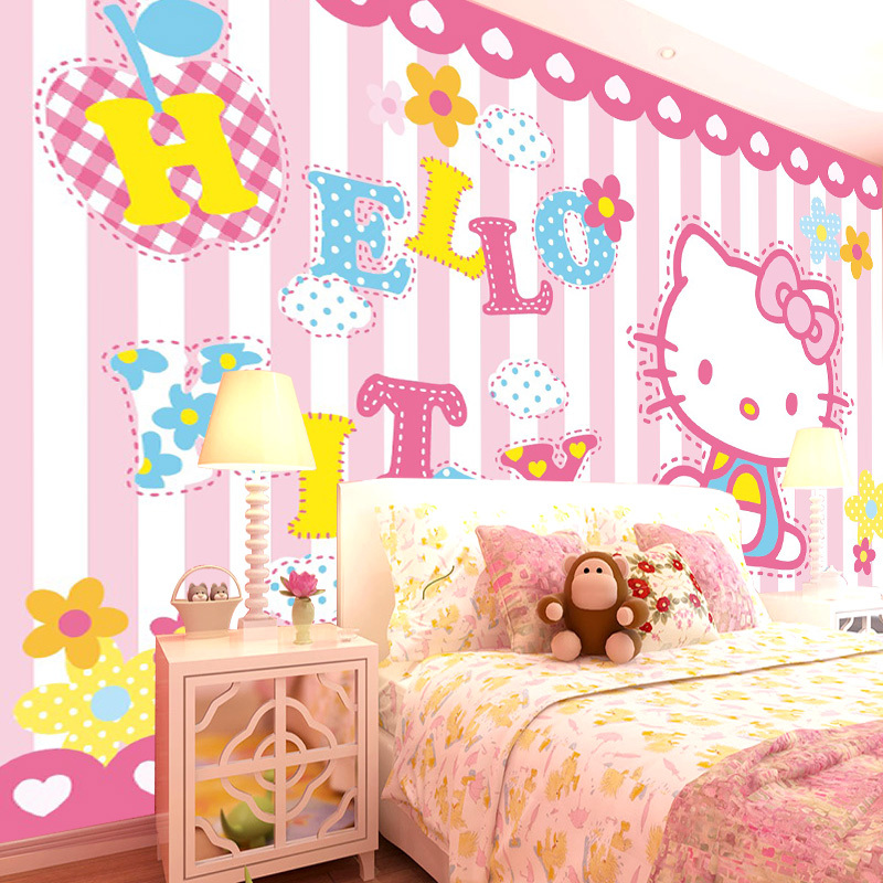 Self Adhesive Wallpaper 3D Large Mural Wallpaper Hello Kitty Cartoon Wall  Mural Custom Photo Wallpaper Roll For Girlu0027s Room In Wallpapers From Home  ... Part 81