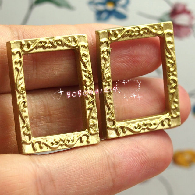 Dollhouse Miniature 1:12 Toy 2 Small Plastic Gold Rectangle Frames ...