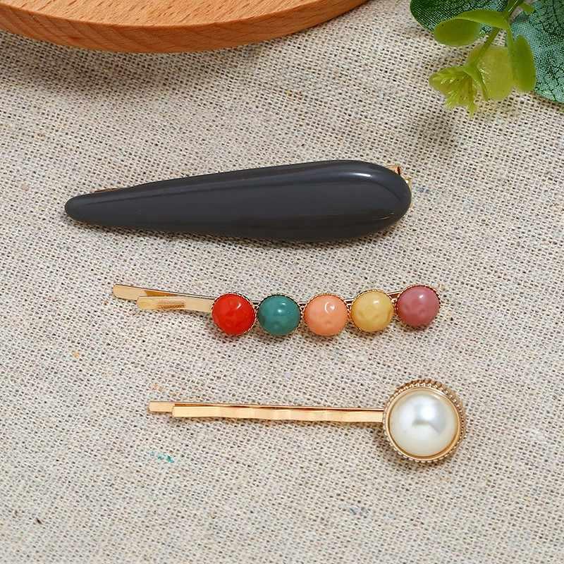 פרל שיער קליפ שלוש-חתיכה גיאומטרית נייל צורת מילת צד קליפ צבעים בוהקים פרל שיער קליפ אבזרים