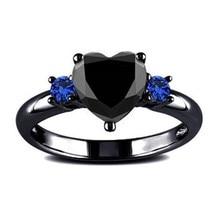Новое Трендовое кольцо на палец в виде сердца с черным пистолетом для женщин, свадебное кольцо с синим и черным кристаллом, подарок на день Святого Валентина