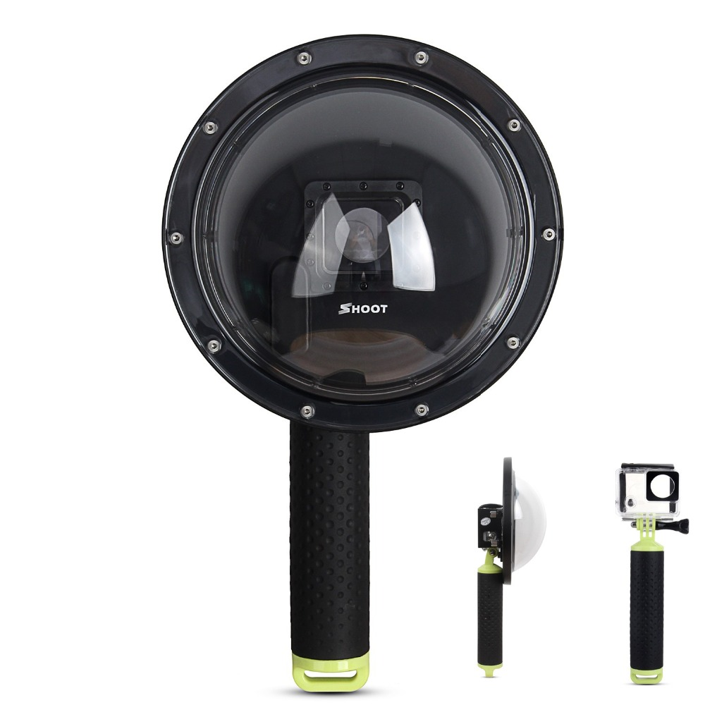 SHOOT 6'' inch Diving Underwater Waterproof Camera Lens Dome Port Lens Housing for Gopro Hero 3+/4 Camera Underwater Photography hr113 gn high precision cnc aluminum alloy lens strap ring for gopro hero 3 green