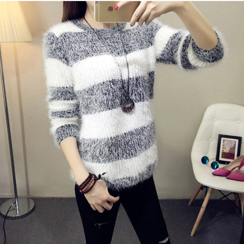 Hot Wholesale 2019 New Women Mohair Pullover Autumn/Winter Fashion Warm Round Neck Pullover Casual High Elasticity Sweater Tops