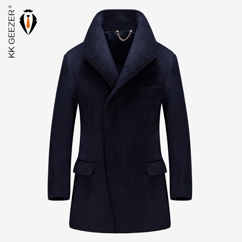الشتاء الرجال الصوف معطف من قماش الكشمير طويلة جاكيتات القسم الصوف خندق معطف يمزج أزياء واق من المطر معاطف اليوسفي الأعمال الكشمير-في صوف مختلط من ملابس الرجال على  مجموعة 1