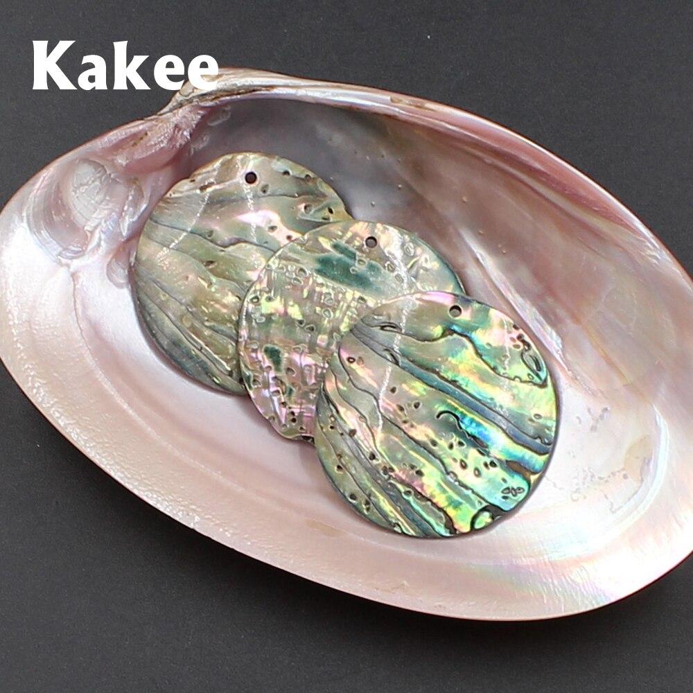 Kakee الجملة 35 مللي متر الطبيعي نيوزيلندا الطاووس أذن البحر DIY قذيفة الخرز لل مجوهرات الأزياء صنع النساء الأقراط المواد-في خرز من الإكسسوارات والجواهر على  مجموعة 1