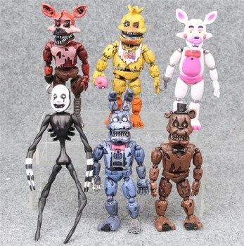 6 шт./компл. 14-17 см аниме FNAF игрушки Five Nights At Freddy's Action fiсветодио дный gure LED Light подвижные суставы Assemb светодио дный разборка Дети DIY T