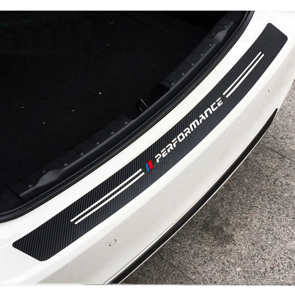 Carbon Fiber Pattern Car Rear Bumper Protector Sticker Performance Decal For <font><b>BMW</b></font> E84 F48 E83 F25 <font><b>G01</b></font> E70 F15 M3 M4 M5 X1 <font><b>X3</b></font> X5 image
