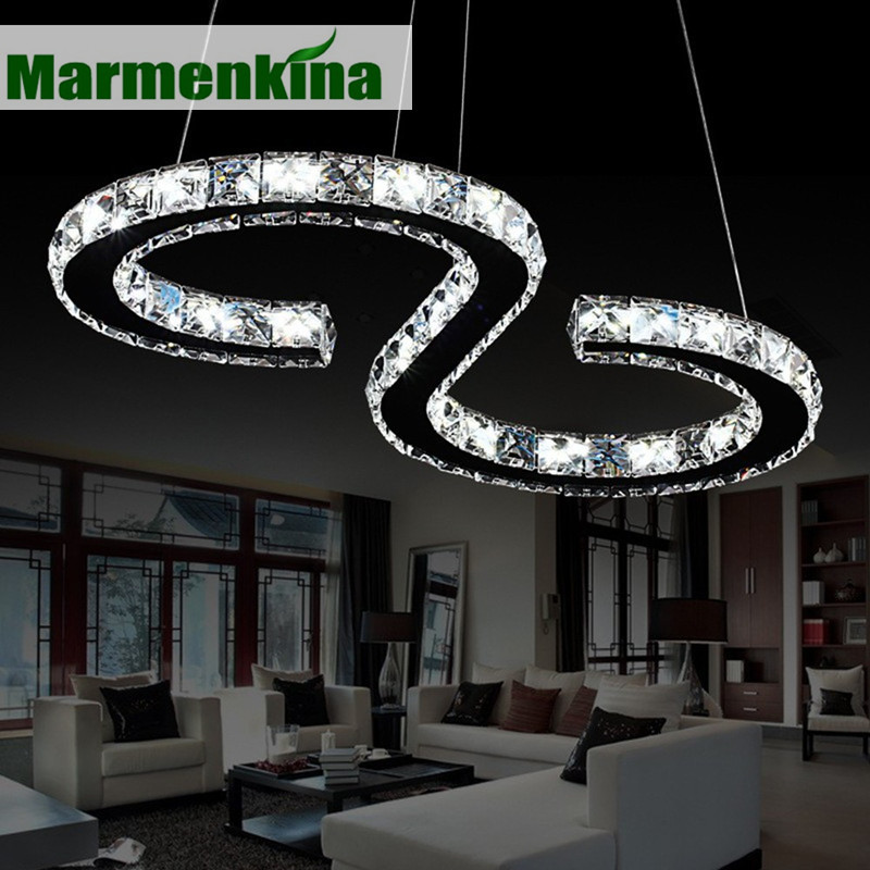 Marmenkina Modern Chrome pendant lamp Crystals Diamond Ring 24W LED Pendant Light Stainless Steel Hanging Light Fixtures