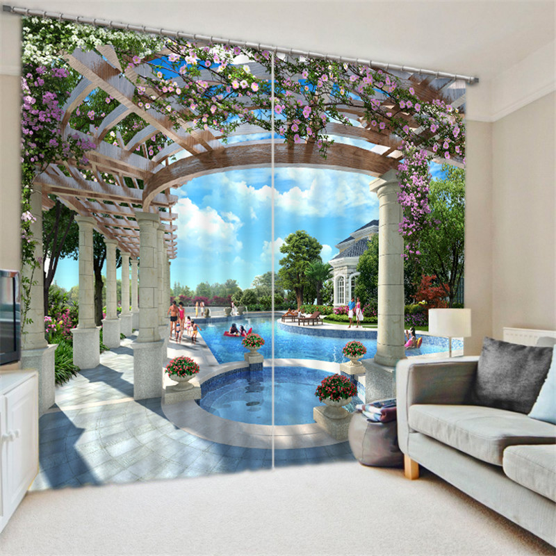3D Blackout Window Curtains For Living Room Boy Bedroom beautiful Pool party Print Customized size Drapes