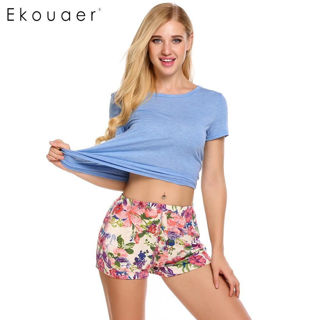 Ekouaer Floral Pajama Sets Women Sleepwear Solid O-Neck Short Sleeve Solid Tops With Shorts Pajamas Summer Casual Loose Homewear
