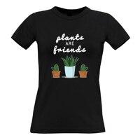 Plants Are Friends Plants Friends Flowers Cute Cactus Garden Ladies Top Harajuku T Shirt Women Short