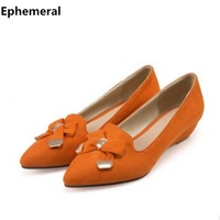 Womens Shoes Heels And Wedges Platform Bow Low Heel Pumps Pointed Toe Zapatos Hombre Ladies Slip
