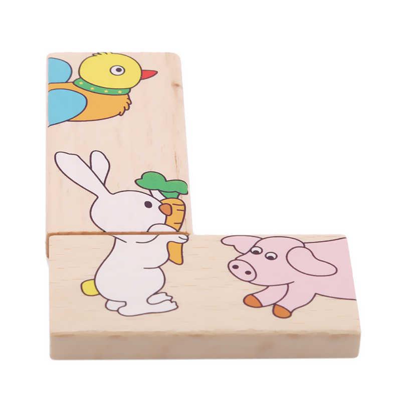 Горячая Распродажа Детские Веселые раннее образование мудрые животные строительные последовательные блоки Животные головоломки Solitaire домино детские игрушки