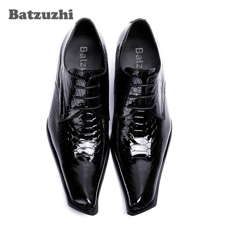 Hombres Lace Us12 Batzuzhi Genuino Vestido Hombre Zapatos Negro 2018 Para up De A Mano Cuero Oxfords Hombre Negocios Moda Hecho AHqZAw7