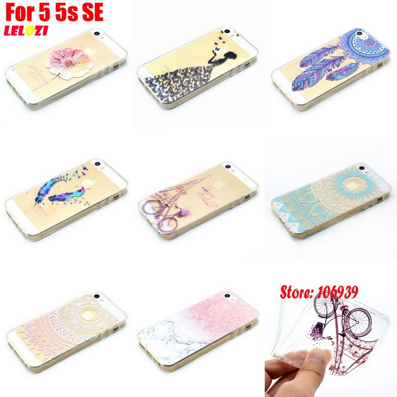 LELOZI Art Luxury Beautiful Abstract TPU Clear Transparent Soft Silicone Silicon Capinha Etui Cover Case For iPhone 5 5s SE