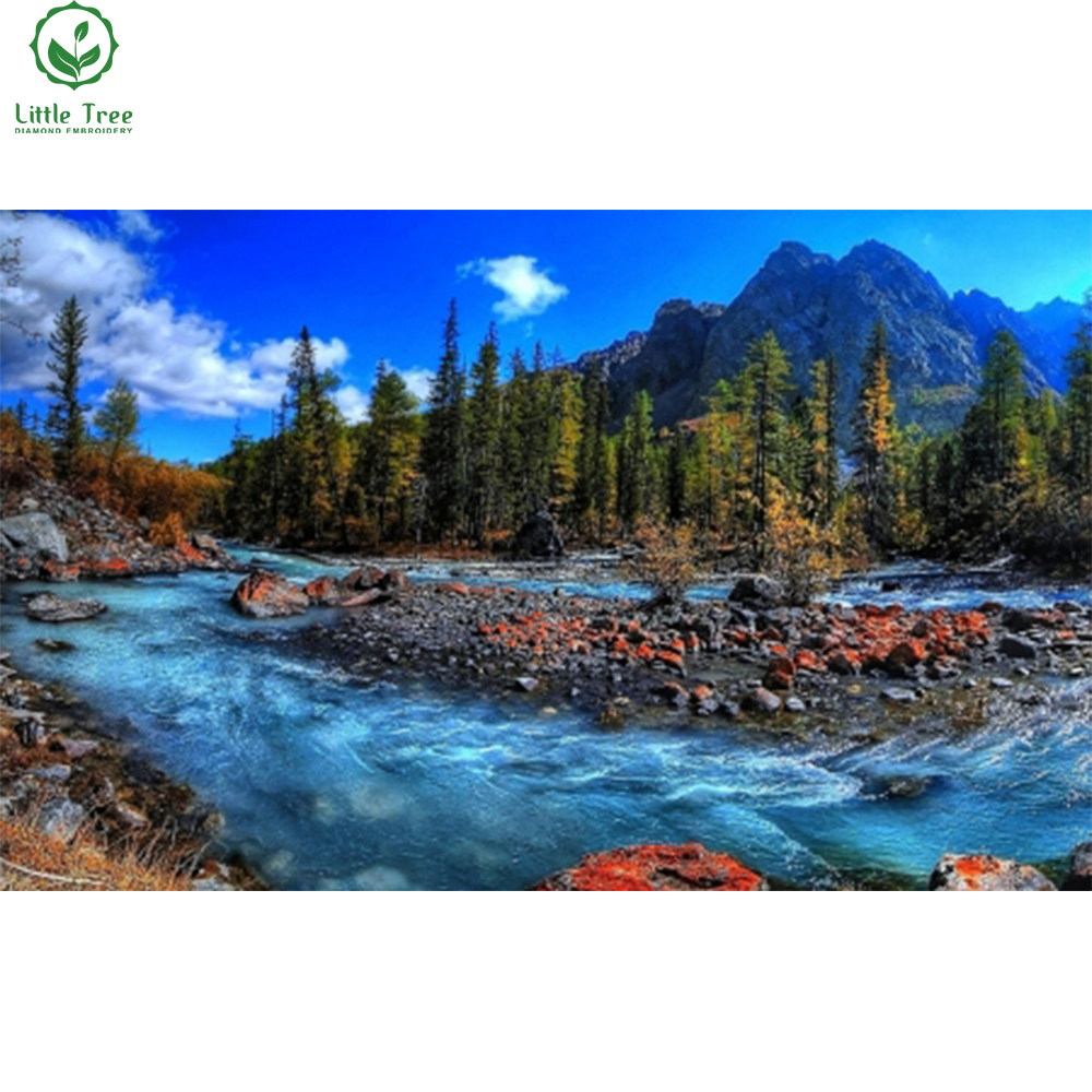 scenery 3d diamond painting home decor mountain river wallpaper resin crystals inlay oil painting handicraft diamonds embroidery