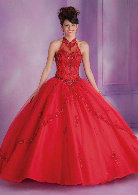 137f9954b7 Debut Ball Gowns Quinceanera Dress for 15 Years Tulle Appliques Halter New  Fashion Design 2016 Girls