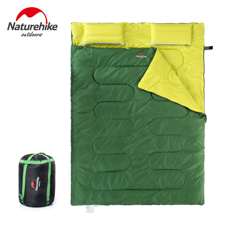 Naturehike Couple Double Sleeping Bag with Pillows Outdoor Camping Indoor Lunch Break Portable Adult Lover Warm for Four Seasons nh outdoor camping indoor lunch adult sleeping bags of ultra light warm seasons can be spliced herringbone cotton bag