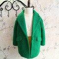 Nuevo invierno 2015 otoño caramelo color turn down collar abrigo de lana niñas roupas infantis menina traje 2 ~ 7age niños chaqueta de la ropa