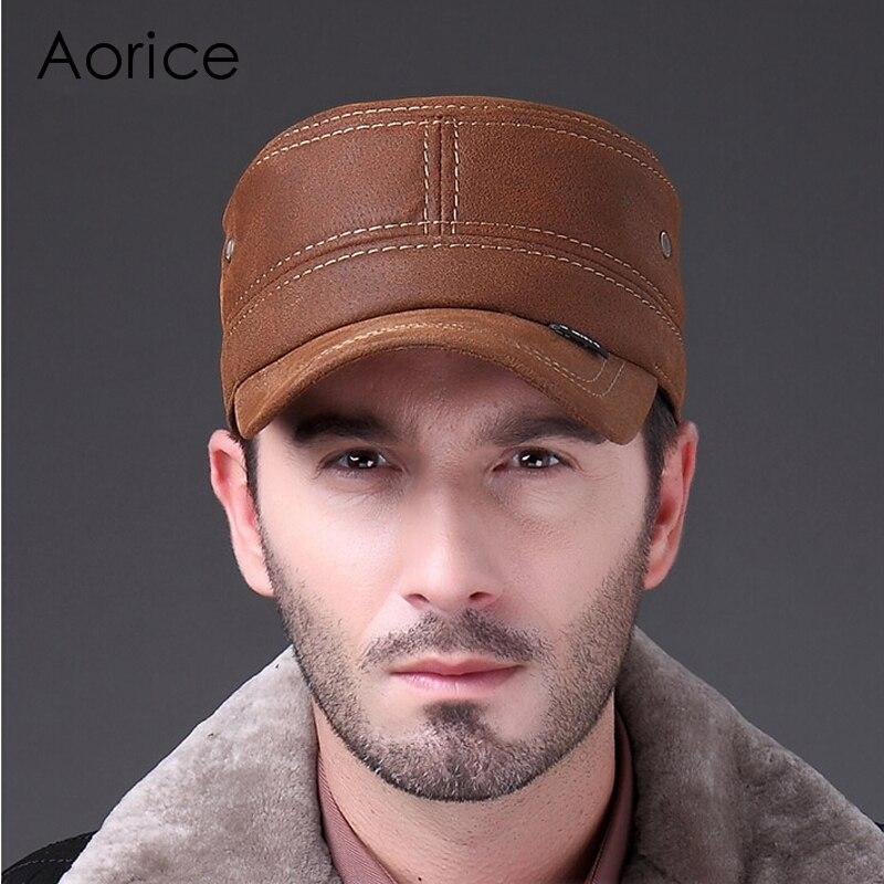 Prix pour HL019 Véritable casquette de baseball En Cuir Boîte De Mode Chapeau/CAP 2017 nouveau hommes marque armée Nubuck en cuir cap chapeau