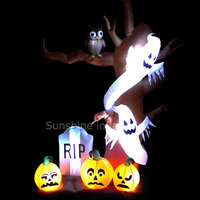 10ft giant halloween decoration inflatable tree with pumpkin and ghost