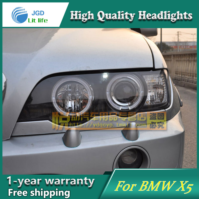 high quality Car styling case for BMW X5 1998-2005 Headlights LED Headlight DRL Lens Double Beam HID Xenon hireno headlamp for 2016 hyundai elantra headlight assembly led drl angel lens double beam hid xenon 2pcs