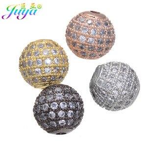 Ali Moda Zirconia cúbica 10mm bolas de discoteca de Metal accesorios para mujeres hombres pulsera pendiente de perla collar joyería DIY fabricación