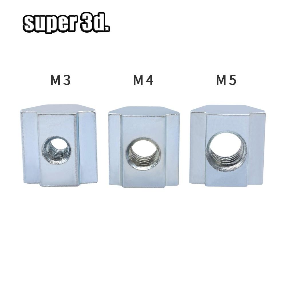 50/20/10pcs Zinc Plate Coated M3 M4 M5T Block T Sliding Nut For Aluminum Profile 2020 Aluminum Profile Slot 6 Connector Accessor