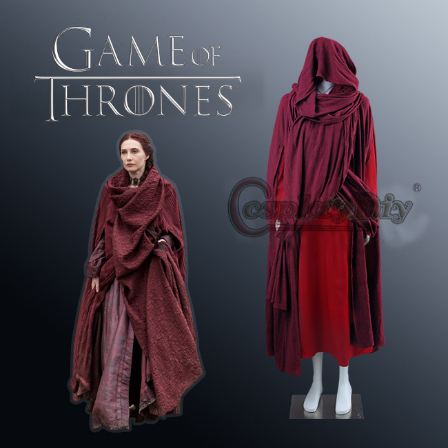 Cosplaydiy Game of Thrones Cosplay The Red Woman Melisandre Costume Cape Dress Adult Women Costumes For Halloween Custom Made
