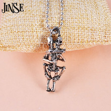 BLS005 Men Women Infinity Love Necklace Antique Silver Plated Couple Skulls Hug Chain Pendant Necklace chic style silver plated rhinestone music note pendant necklace for men